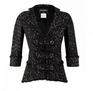 Chanel Black Logo Ribbon Woven Lesage Tweed Jacket