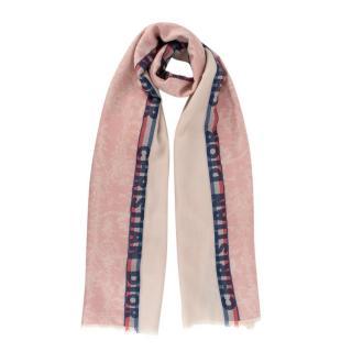 NR Christian Dior Beige & Pastel Pink Wool Blend Fringed Scarf