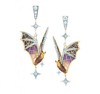 Masriera 18ct yellow Gold Diamond & Enamel Night Flight Bat Earrings