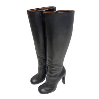 Mulberry Black Leather Phillips Knee Boots