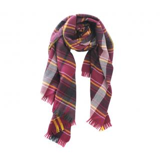 Max Mara Red plaid wool large scarf
