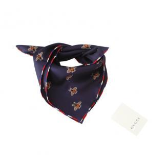Gucci Blue Bee Print Silk Neck Tie/Scarf