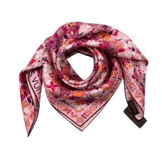 Louis Vuitton Fuchsia & Orange Floral Print Twill Silk Square Scarf
