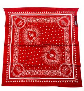 Dolce & Gabbana Red Heart Print Bandana Scarf