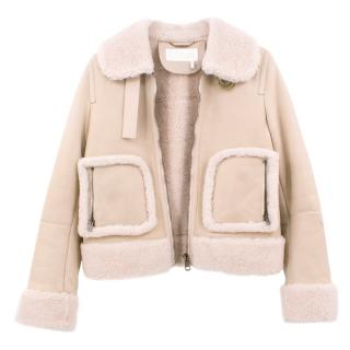 Chloe Beige Leather & Shearling Aviator Coat