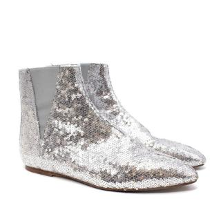 Loewe Metallic Silver Sequined Flat Ankle Boots