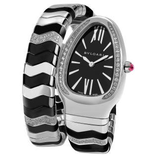 Bvlgari Black & Stainless Steel Diamond Spiga Fine Watch