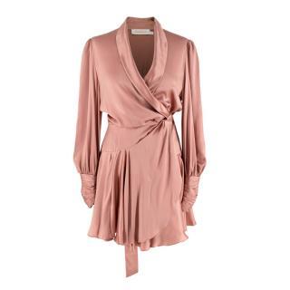 Zimmermann Rose-Pink Silk Charmeuse Wrap Dress