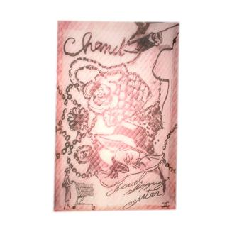 Robert Chanel Pink Coco Camellia Print Cashmere Scarf