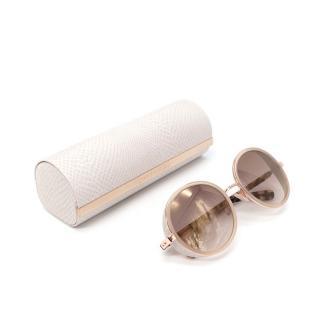 Jimmy Choo Andie Glitter Trim Rose Gold Sunglasses