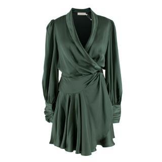 Zimmermann Green Clover Silk Charmeuse Wrap Dress