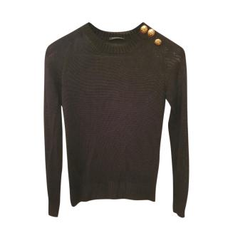 Balmain black Knit Button Embellished Jumper