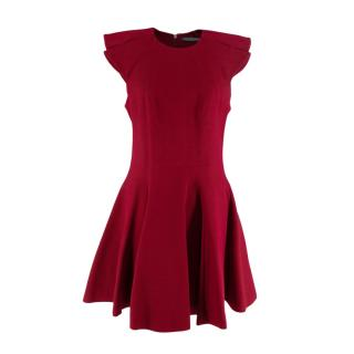 Alexander McQueen Burgundy Fit and Flare Mini Dress