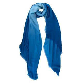Louis Vuitton Gradient Blue LV Logo Wool Shawl