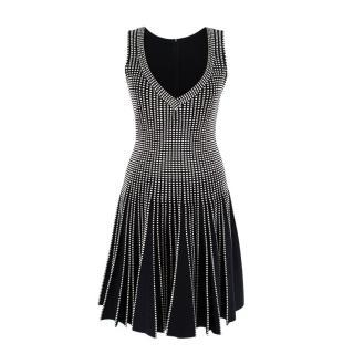Alaia Pleated Black & White Jacquard Wool Blend Dress