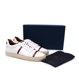 Malone Souliers Deon White & Maroon Nappa Leather Low-Top Sneakers