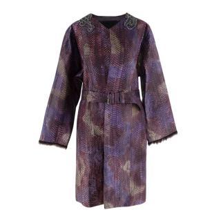 Prada Python Purple Embellished Belted Coat
