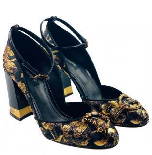 Dolce & Gabbana Amore Runway Black & Gold Sandals