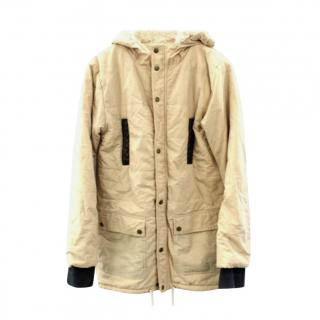 Ganni faux shearling lined hooded coat