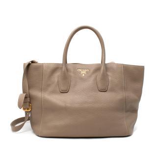 Prada Taupe Grained Leather Tote Bag