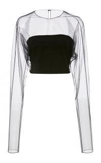NR Cushnie et Ochs Black Sheer Mesh Long Sleeve Top