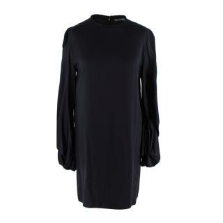 Alexander McQueen Black Silk Balloon Sleeve Oversize Blouse/Mini Dress