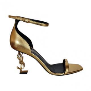 Saint Laurent Gold Oro 85mm Opyum Sandals