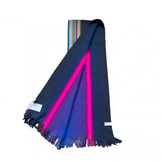 Paul Smith Navy Multicolour Wool Scarf