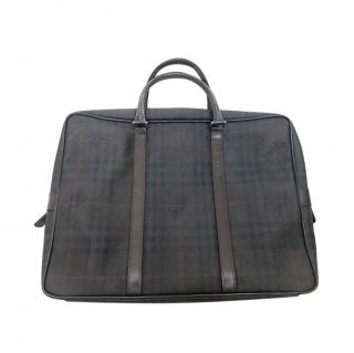 Burberry Leather Trimmed Canvas Check Briefcase