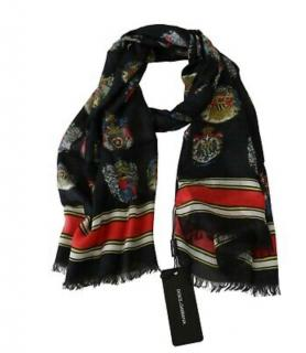 Dolce & Gabbana Mens Cashmere Blend Printed Scarf