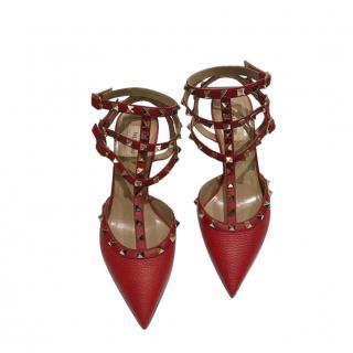 Valentino Garavani Red Grained Leather Caged Rockstud Sandals