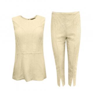 Alexander McQueen Beige Lace Crochet Top & Pants