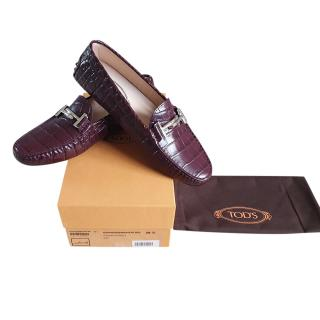 Tod's Double T Gommino High Shine Croc Effect driving shoe