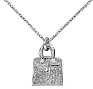 Hermes 18ct White Gold Diamond Amulet Birkin Pendant Necklace