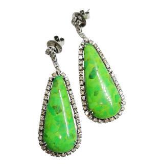 Bespoke 18ct White Gold Diamond & Jade Earrings