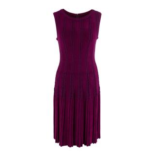 Alaia Bordeaux Velour Fit and Flare Dress