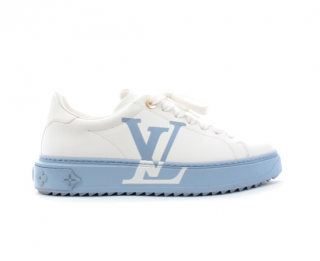 Louis Vuitton White & Blue Calfskin Time Out Sneakers