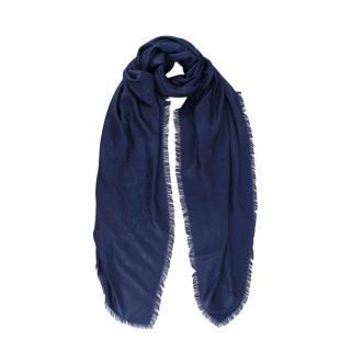 Louis Vuitton Bleu Nuit Monogram Silk Scarf