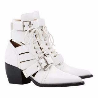 Chloe White Rylee Lace-up Cutout Ankle Boots