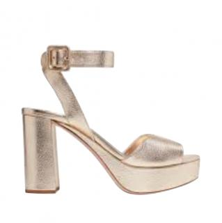 Miu Miu Gold Chunky Platform Sandals