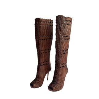 Gucci Brown Woven Open Toe Knee Boots