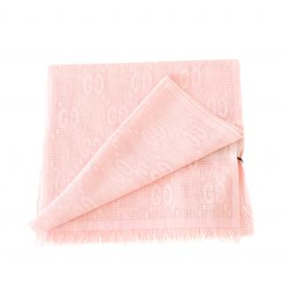 Gucci Pink Wool & Silk GG Embroidered Scarf