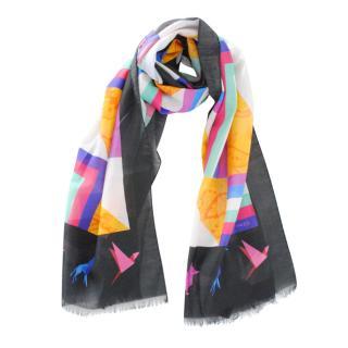Etro Origami Paisley Print Silk Blend Scarf