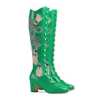 Gucci Green Embroidered Amaya Tassel Boots