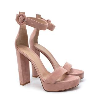 Gianvito Rossi Portifino Pink Suede Platform Sandals