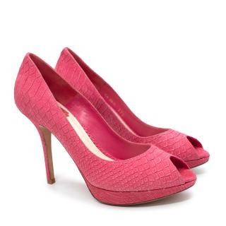 Dior Pink Faux Python Peep Toe Platform pumps