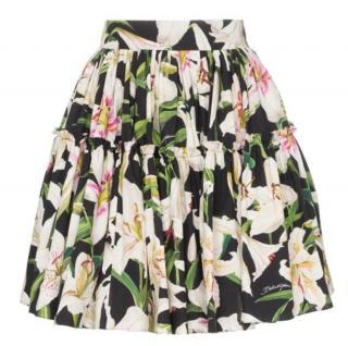 Dolce & Gabbana Black Lily Print Tiered Skirt
