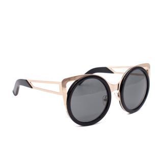 Linda Farrow x Ederm Black and Gold Cat Eye Sunglasses