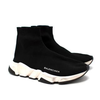 Balenciaga Black & White Speed Slip-On Sock Trainers