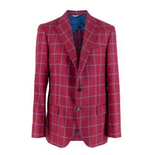 Sirecci Cherry Red & Blue Check Cashmere Blend Single-Breasted Blazer